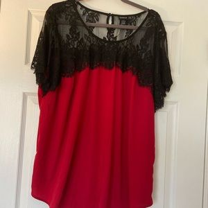 Torrid Red Lace and Silk Top